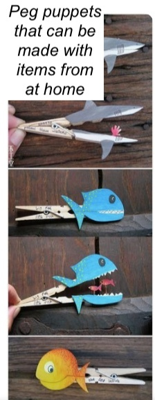 Peg fish puppet idea for home
